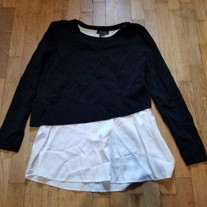 Club Monaco Black White Trim Long Sleeve Blouse